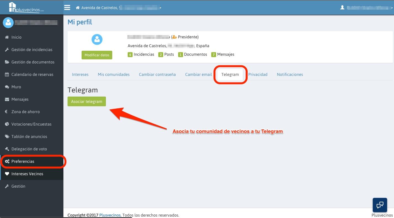Asociar telegram